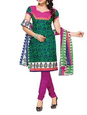 Green Poly Cotton Printed Unstitched Suit Set - By
