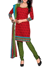Printed Red And Green Cotton Unstitched Dress Material - By