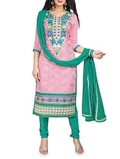 Pink Florina Chiffon Embroidered Suit - By
