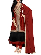 Black with Red Georgette Embroidered Semi-Stitched Suit Set -  online shopping for Dress Material