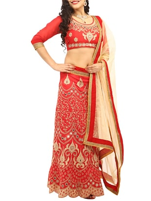 Red embroidered unstitched lehenga set