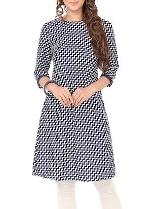 navy blue chevron printed crepe regular tunic
