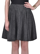 Black And White Dotted Polyester Skirt - By