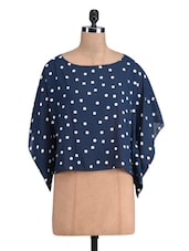 Navy Blue Polka Dotted Polyester Top - By