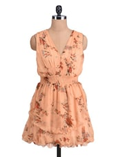 Peach Floral Printed Dress With Frilled Hem - By