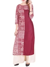 Maroon Colored Cotton Straight Kurta - By