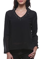 Black Poly Georgette Embellished Full Sleeves Top - By