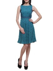 Teal American Crepe Polka Dots Print Dress - By