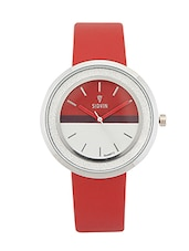 RED LEATHER STRAP ANALOG WATCH -  online shopping for Wrist watches