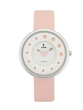 PINK LEATHER STRAP ROUND ANALOG WATCH -  online shopping for Wrist watches