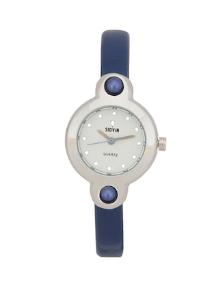 BLUE LEATHER STRAP ROUND ANALOG WATCH -  online shopping for Wrist watches