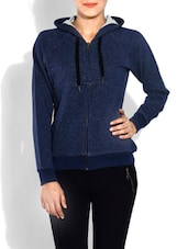 Navy Blue Hooded Cotton Sweatshirt - By