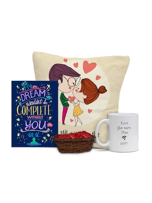 Valentine Cushion and Card Combo with Chocolates and Mug