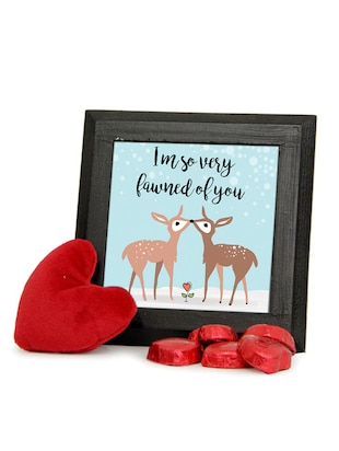Cute Deer Frame and Chocolate Combo with Red Teddy