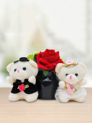 Romantic Couple Teddy Combo with Red Rose in Designer Ceramic Pot