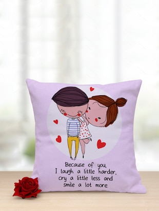 Beacause of You Printed Cushion with Red Rose