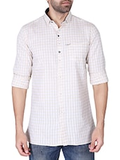 beige cotton checked casual shirt -  online shopping for casual shirts