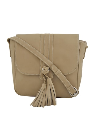 beige synthetic leather sling bag