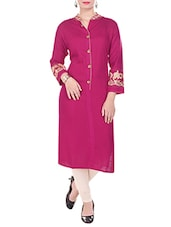 Pink Rayon Straight Kurta - By