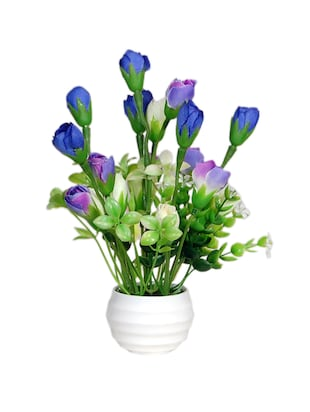 Loxiaa Blue Rose  Artificial  flower with  pot (18 Cm)
