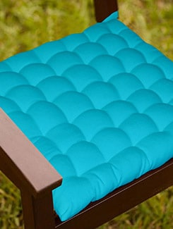 Lushomes Light Blue Comfy Cotton Chair Cushion with 36 knots & 4 tie backs  available at Limeroad for Rs.399