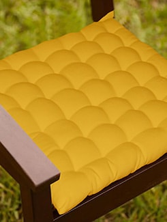 Lushomes Yellow Comfy Cotton Chair Cushion with 36 knots & 4 tie backs  available at Limeroad for Rs.399