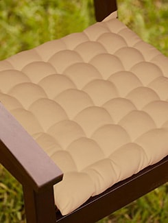 Lushomes Beige Comfy Cotton Chair Cushion with 36 knots & 4 tie backs  available at Limeroad for Rs.399