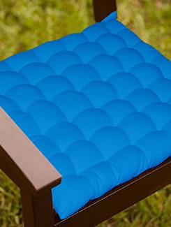 Lushomes Dark Blue Comfy Cotton Chair Cushion with 36 knots & 4 tie backs  available at Limeroad for Rs.399