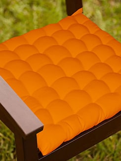 Lushomes Orange Comfy Cotton Chair Cushion with 36 knots & 4 tie backs  available at Limeroad for Rs.399