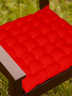 Lushomes Red Comfy Cotton Chair Cushion with 36 knots & 4 tie backs  available at Limeroad for Rs.399