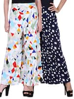 set of 2 multicolored printed crepe palazzos -  online shopping for Palazzos