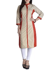 Beige And Red Cotton Straight Kurta - By