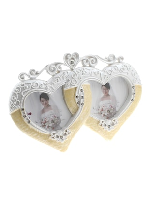 Golden Peacock Hearts Shaped Resin Photo Frame
