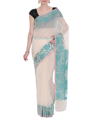 Cream Banarasi Woven Art Silk Saree -  online shopping for Sarees