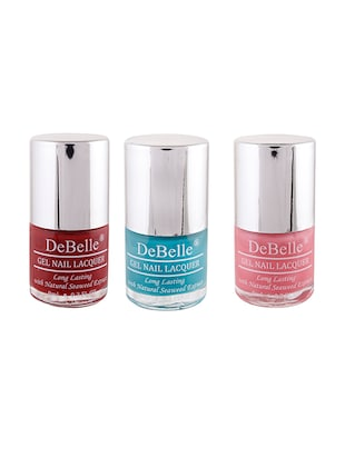 DeBelle Nail Polish Combo of 3 (Maroon, Turquoise Blue, Pink)