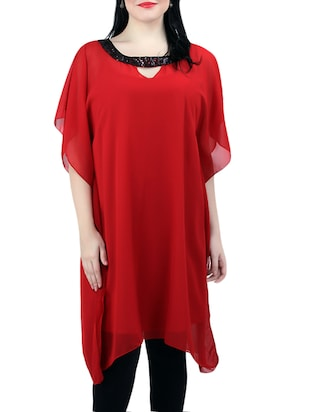 red georgette kaftan