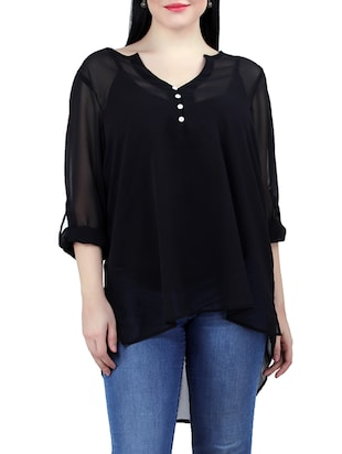 black georgette high low top
