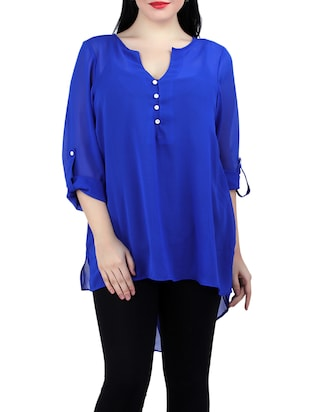 blue georgette high low top