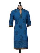 Blue Cotton Block Printed Kurti - By