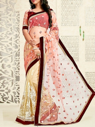 Beige Net Embellished Saree