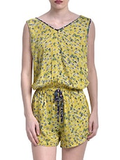 Yellow Rayon Printed Jumpsuit - By