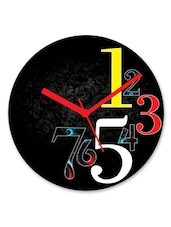 Black Abstract Printed Round Wall Clock - By
