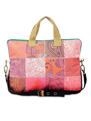 Multicolored Paisley Printed Cotton Canvas Laptop Bag