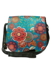 Multicolored Printed Leatherette Saddle Bag - By