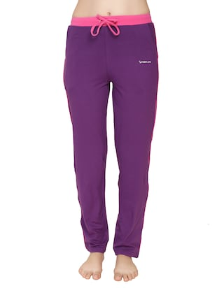 purple cotton track pants