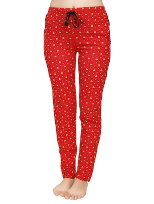 red printed cotton track pant