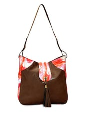 Brown Leatherette Canvas Printed Shoulder Bag - By