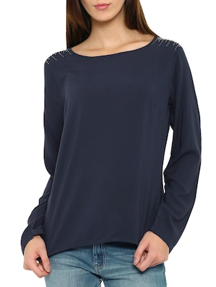 navy blue embellished viscose regular top