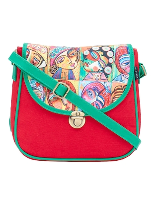 red canvas printed sling bag