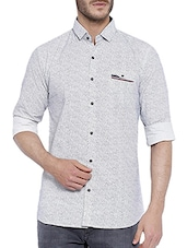 blue cotton printed casual shirt -  online shopping for casual shirts
